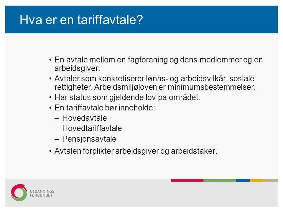 Hva er en tariffavtale? En avtale mellom en fagforening og dens medlemmer og en arbeidsgiver. Avtaler som konkretiserer lønns- og arbeidsvilkår, sosia