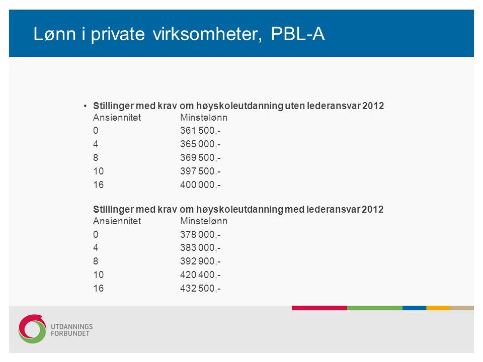 Lønn i private virksomheter, PBL-A Stillinger med krav om høyskoleutdanning uten lederansvar 2012 Ansiennitet Minstelønn 0 361 500,- 4 365 000,- 8 369
