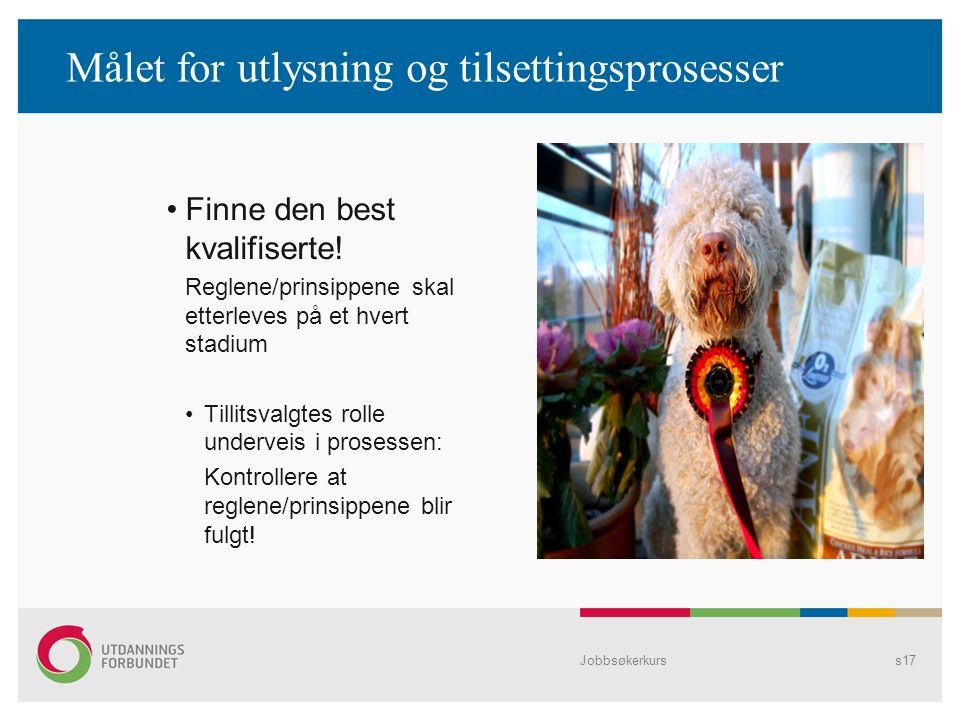 Jobbsøkerkurss17 Målet for utlysning og tilsettingsprosesser Finne den best kvalifiserte.