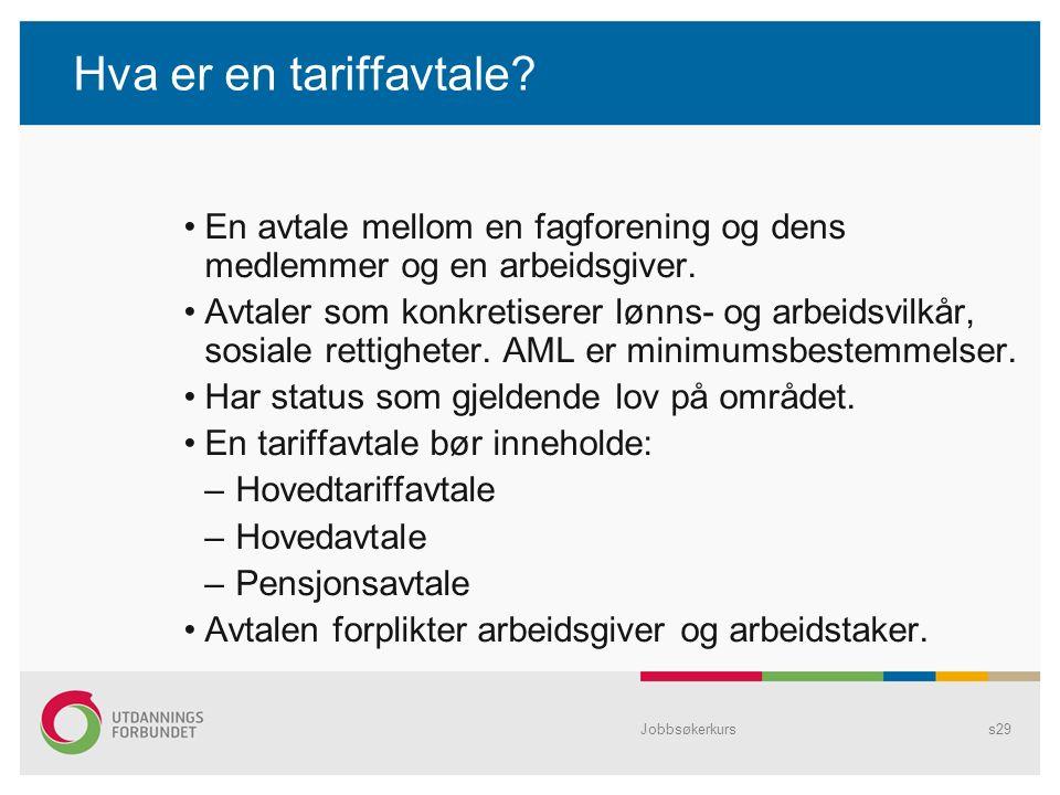 Jobbsøkerkurss29 Hva er en tariffavtale.