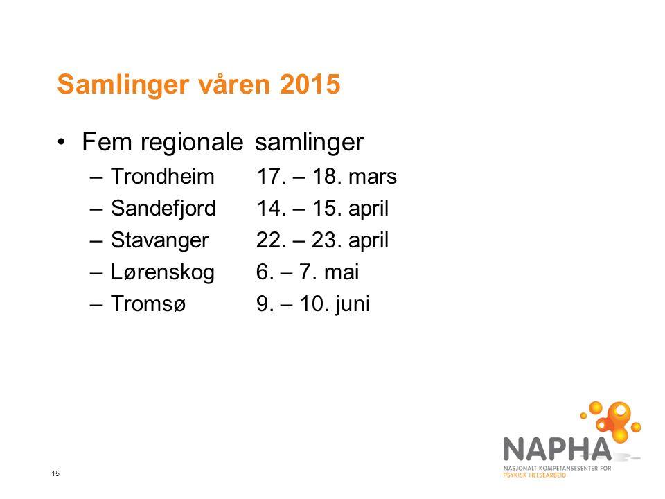 15 Samlinger våren 2015 Fem regionale samlinger –Trondheim17.