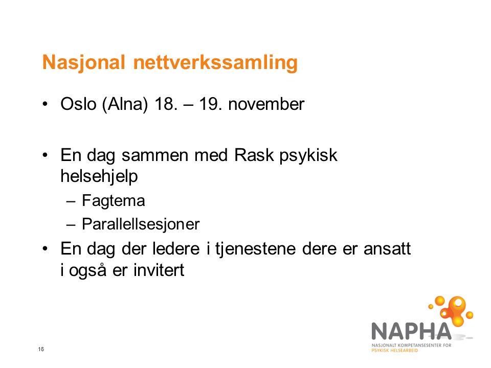 16 Nasjonal nettverkssamling Oslo (Alna) 18. – 19.