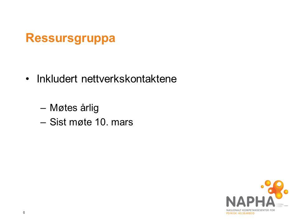 6 Ressursgruppa Inkludert nettverkskontaktene –Møtes årlig –Sist møte 10. mars
