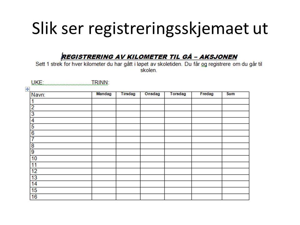 Slik ser registreringsskjemaet ut