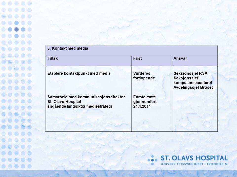 6. Kontakt med media TiltakFristAnsvar Etablere kontaktpunkt med media Samarbeid med kommunikasjonsdirektør St. Olavs Hospital angående langsiktig med