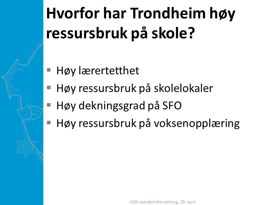 Hvorfor har Trondheim høy ressursbruk på skole?  Høy lærertetthet  Høy ressursbruk på skolelokaler  Høy dekningsgrad på SFO  Høy ressursbruk på vo