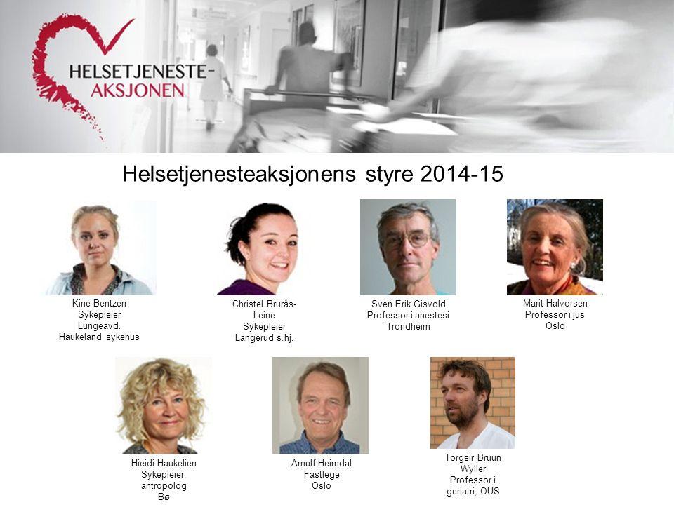Helsetjenesteaksjonens styre 2014-15 Christel Brurås- Leine Sykepleier Langerud s.hj.