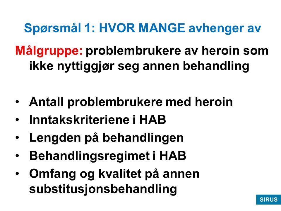 Spørsmål 1: Alternativ 1 beregning 12.500 problembrukere av heroin 6.200 av disse i LAR, hvorav ca 1.200 fremdeles bruker noe heroin: –klarer seg greit, ikke HAB aktuell –klarer seg for dårlig til HAB –anslår ca 300 aktuelle for HAB og ca halvparten kan gjennomføre behandlingen => 150 nåværende LAR pas.