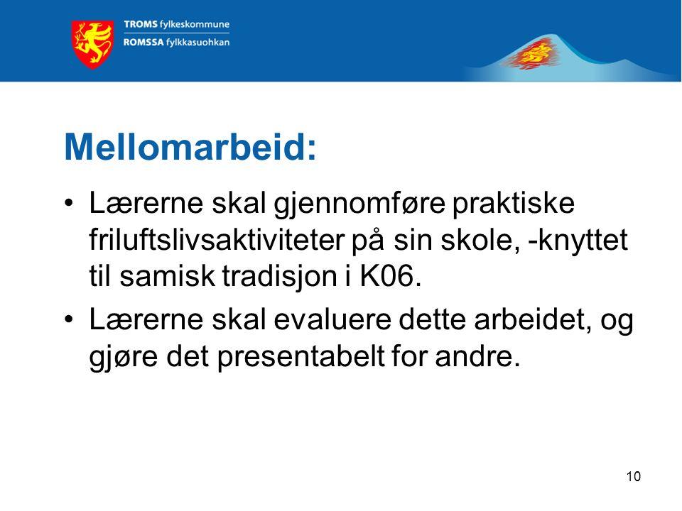 Mellomarbeid: Lærerne skal gjennomføre praktiske friluftslivsaktiviteter på sin skole, -knyttet til samisk tradisjon i K06. Lærerne skal evaluere dett
