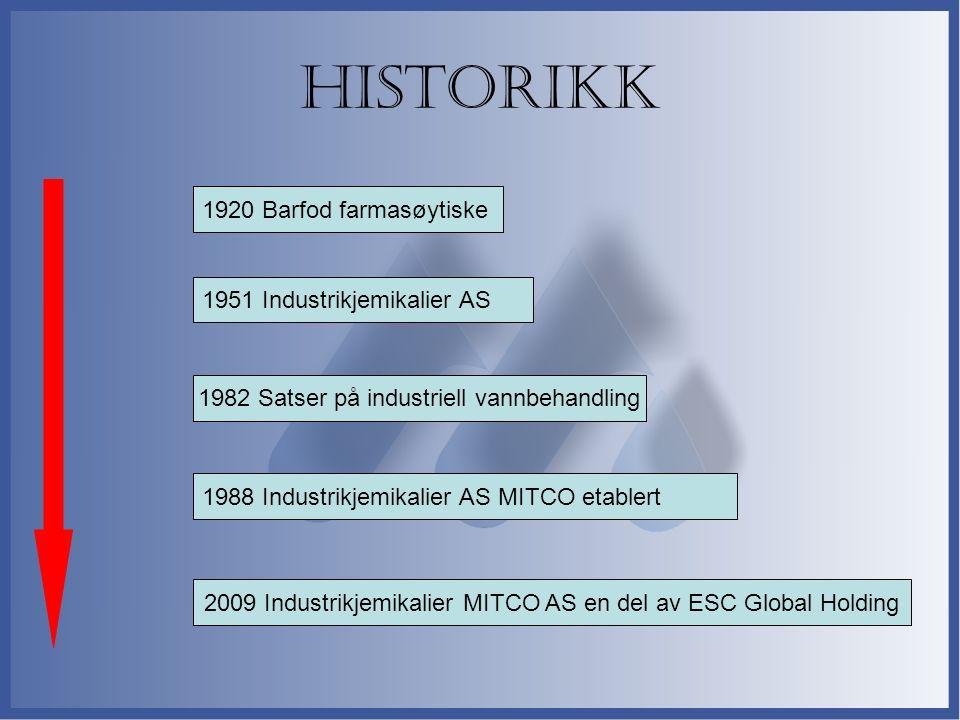 Historikk 1920 Barfod farmasøytiske 1988 Industrikjemikalier AS MITCO etablert 1982 Satser på industriell vannbehandling 1951 Industrikjemikalier AS 2009 Industrikjemikalier MITCO AS en del av ESC Global Holding