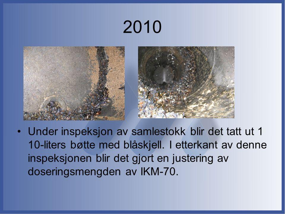 2010 Under inspeksjon av samlestokk blir det tatt ut 1 10-liters bøtte med blåskjell. I etterkant av denne inspeksjonen blir det gjort en justering av