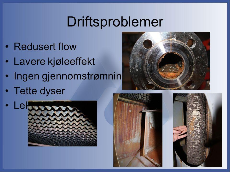 Driftsproblemer Redusert flow Lavere kjøleeffekt Ingen gjennomstrømning Tette dyser Lekkasjer