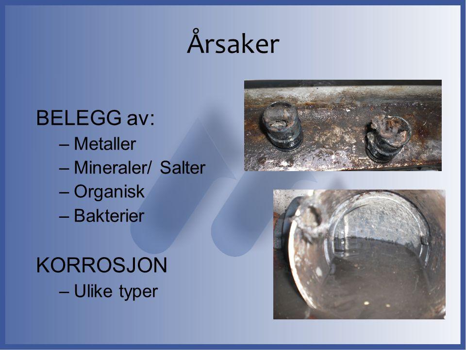 Årsaker BELEGG av: –Metaller –Mineraler/ Salter –Organisk –Bakterier KORROSJON –Ulike typer