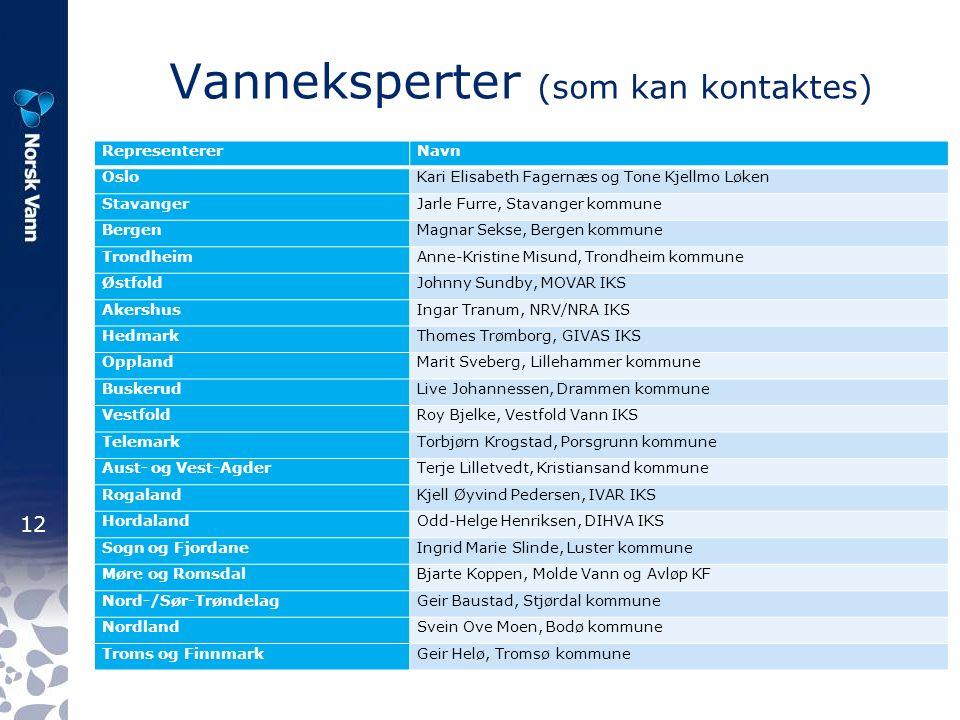 12 Vanneksperter (som kan kontaktes) RepresentererNavn OsloKari Elisabeth Fagernæs og Tone Kjellmo Løken StavangerJarle Furre, Stavanger kommune Berge