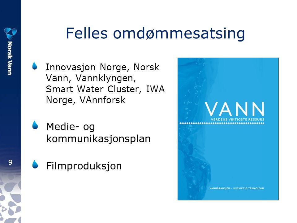 9 Felles omdømmesatsing Innovasjon Norge, Norsk Vann, Vannklyngen, Smart Water Cluster, IWA Norge, VAnnforsk Medie- og kommunikasjonsplan Filmproduksj