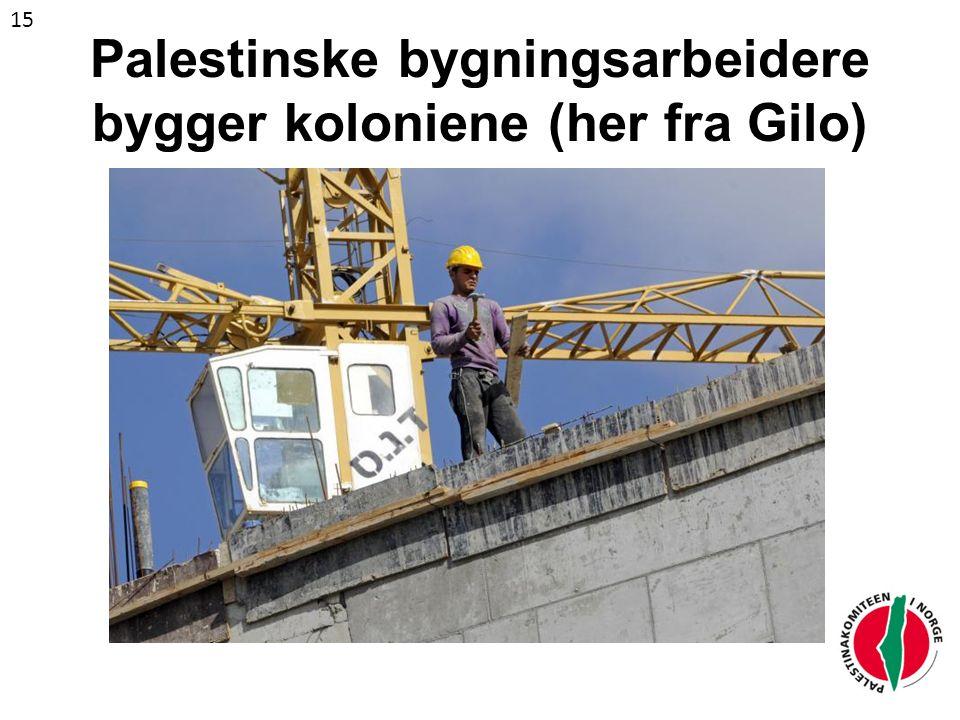 Palestinske bygningsarbeidere bygger koloniene (her fra Gilo) 15