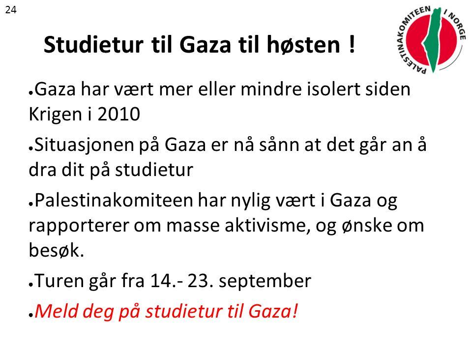 Studietur til Gaza til høsten .