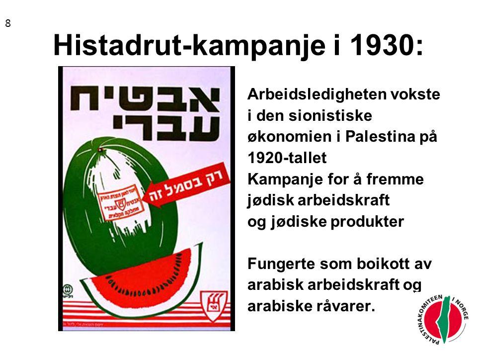 Histadrut-kampanje i 1930: Arbeidsledigheten vokste i den sionistiske økonomien i Palestina på 1920-tallet Kampanje for å fremme jødisk arbeidskraft og jødiske produkter Fungerte som boikott av arabisk arbeidskraft og arabiske råvarer.
