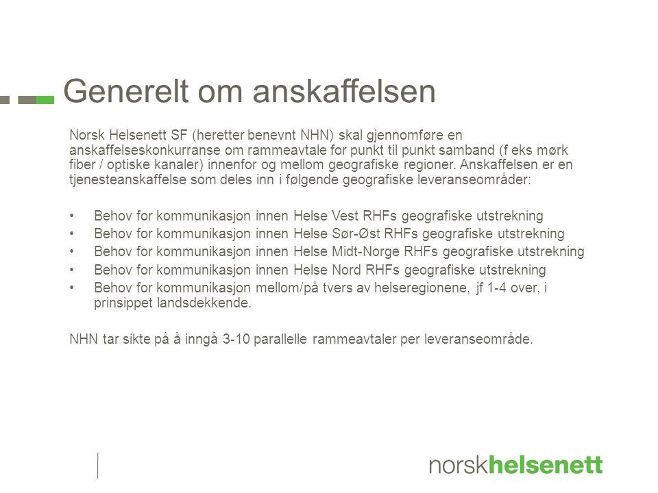 Generelt om anskaffelsen Norsk Helsenett SF (heretter benevnt NHN) skal gjennomføre en anskaffelseskonkurranse om rammeavtale for punkt til punkt samband (f eks mørk fiber / optiske kanaler) innenfor og mellom geografiske regioner.