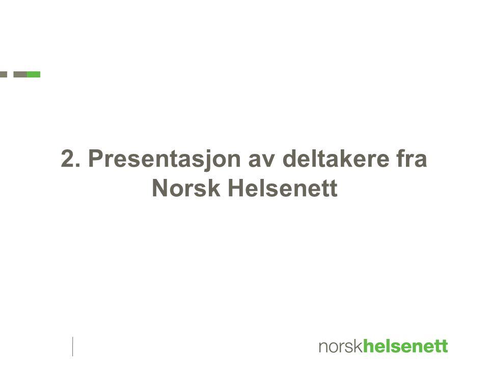 2. Presentasjon av deltakere fra Norsk Helsenett