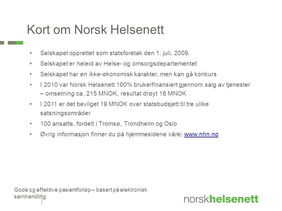 Gode og effektive pasientforløp – basert på elektronisk samhandling Kort om Norsk Helsenett Selskapet opprettet som statsforetak den 1. juli, 2009. Se