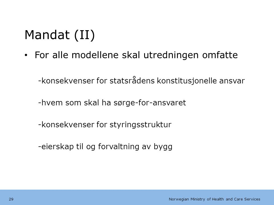 Norwegian Ministry of Health and Care Services Tips bunntekst: For å få bort sidenummer, dato, samt redigere tittel på presentasjon: Klikk på Sett Inn -> Topp og bunntekst -> Huk av for ønsket tekst.