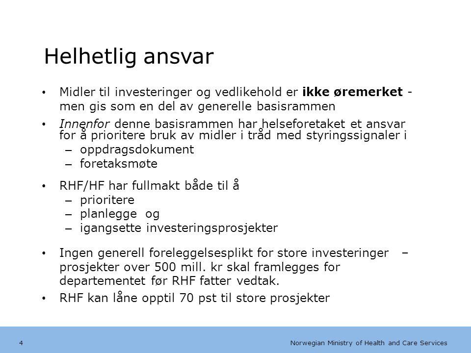 Norwegian Ministry of Health and Care Services Engelsk mal:Tekst uten kulepunkter Fra 2012 – krav om utviklingsplaner før investeringstiltak 15