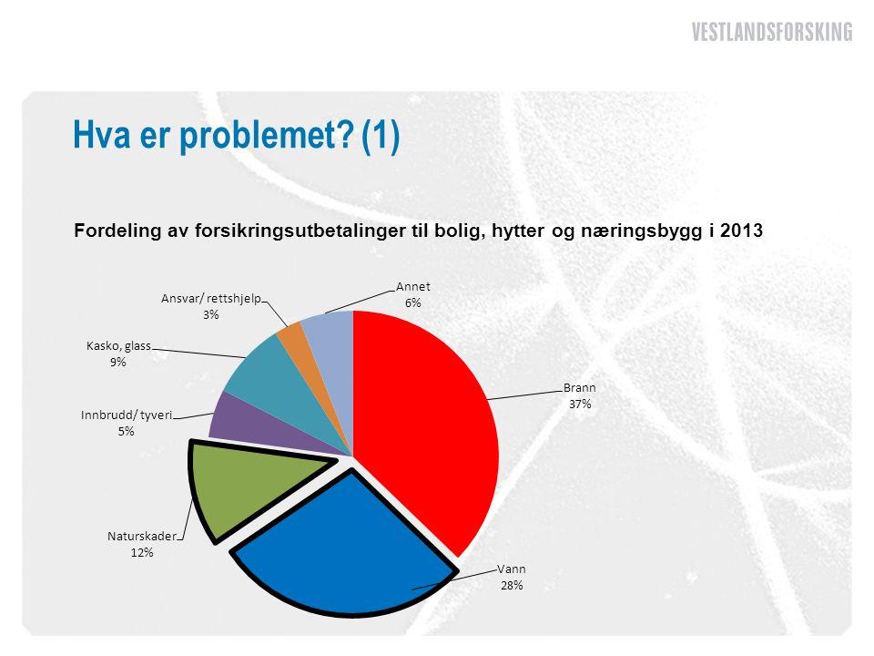 Hva er problemet (1) Fordeling av forsikringsutbetalinger til bolig, hytter og næringsbygg i 2013