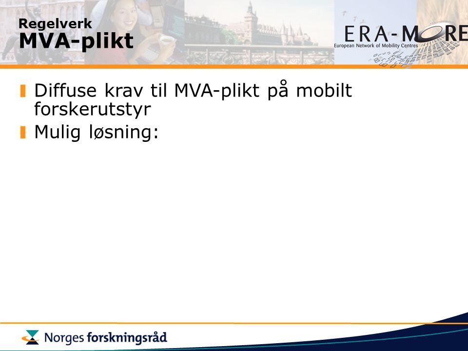 Regelverk MVA-plikt Diffuse krav til MVA-plikt på mobilt forskerutstyr Mulig løsning: