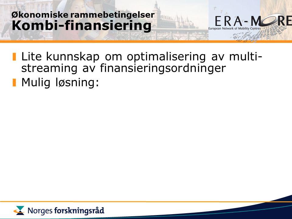 Økonomiske rammebetingelser Kombi-finansiering Lite kunnskap om optimalisering av multi- streaming av finansieringsordninger Mulig løsning: