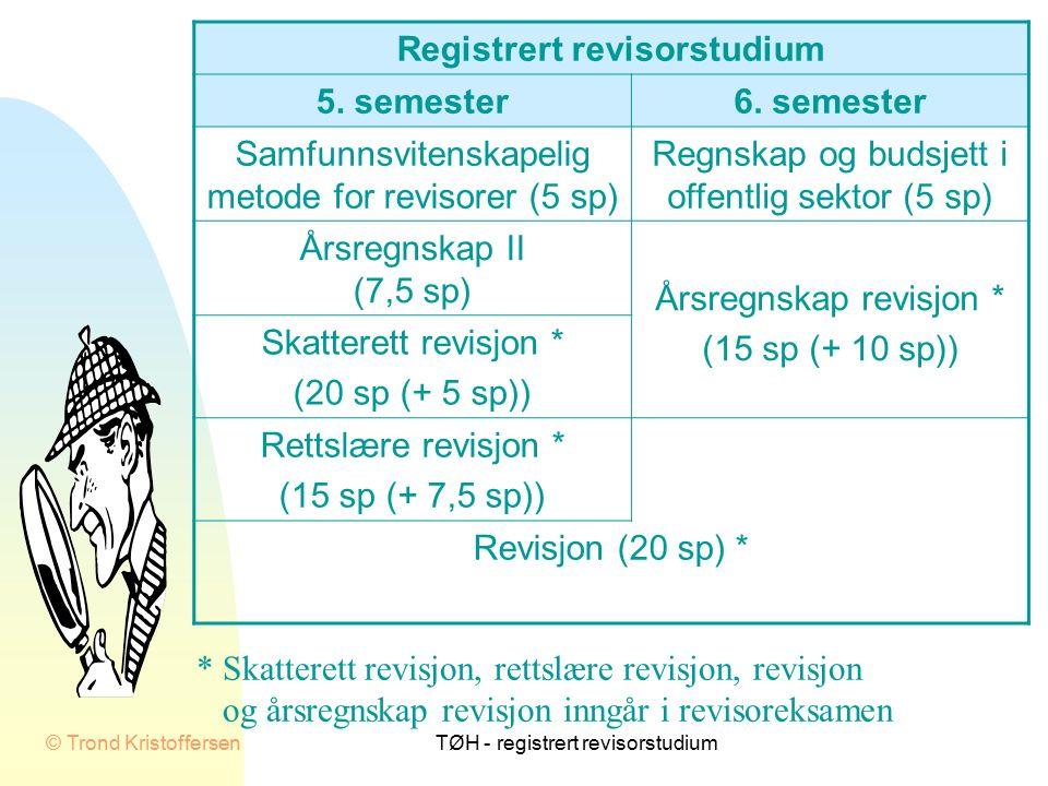 © Trond KristoffersenTØH - registrert revisorstudium Registrert revisorstudium Antall studenter ved eksamen i skatterett revisjon
