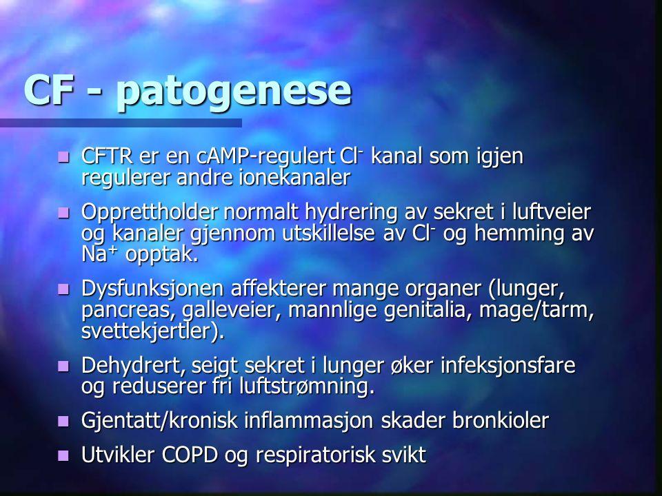 CF - patogenese CFTR er en cAMP-regulert Cl - kanal som igjen regulerer andre ionekanaler CFTR er en cAMP-regulert Cl - kanal som igjen regulerer andre ionekanaler Opprettholder normalt hydrering av sekret i luftveier og kanaler gjennom utskillelse av Cl - og hemming av Na + opptak.