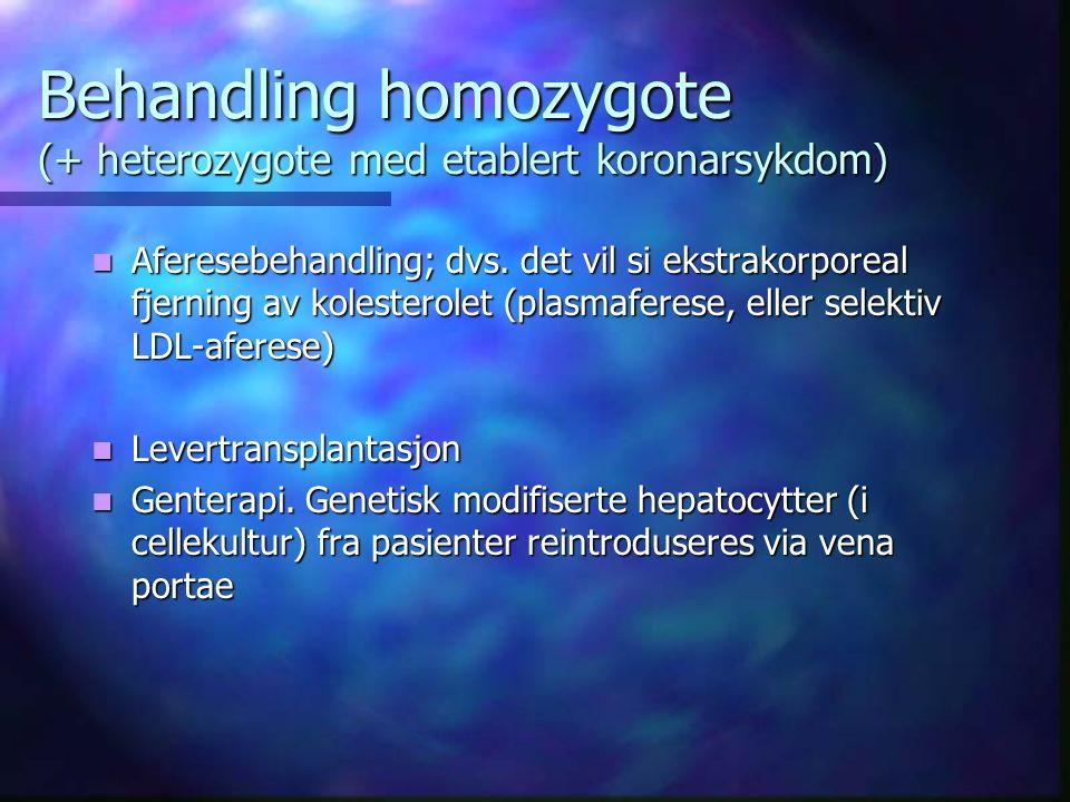 Behandling homozygote (+ heterozygote med etablert koronarsykdom) Aferesebehandling; dvs.