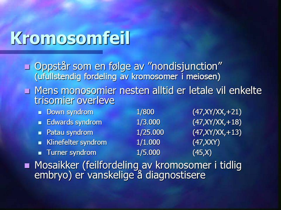 Kromosomfeil Oppstår som en følge av nondisjunction (ufullstendig fordeling av kromosomer i meiosen) Oppstår som en følge av nondisjunction (ufullstendig fordeling av kromosomer i meiosen) Mens monosomier nesten alltid er letale vil enkelte trisomier overleve Mens monosomier nesten alltid er letale vil enkelte trisomier overleve Down syndrom1/800(47,XY/XX,+21) Down syndrom1/800(47,XY/XX,+21) Edwards syndrom 1/3.000(47,XY/XX,+18) Edwards syndrom 1/3.000(47,XY/XX,+18) Patau syndrom1/25.000(47,XY/XX,+13) Patau syndrom1/25.000(47,XY/XX,+13) Klinefelter syndrom 1/1.000(47,XXY) Klinefelter syndrom 1/1.000(47,XXY) Turner syndrom1/5.000(45,X) Turner syndrom1/5.000(45,X) Mosaikker (feilfordeling av kromosomer i tidlig embryo) er vanskelige å diagnostisere Mosaikker (feilfordeling av kromosomer i tidlig embryo) er vanskelige å diagnostisere