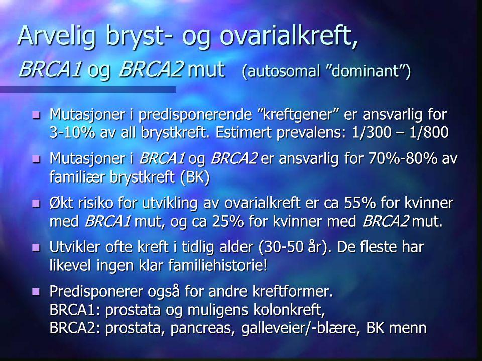 Arvelig bryst- og ovarialkreft, BRCA1 og BRCA2 mut (autosomal dominant ) Mutasjoner i predisponerende kreftgener er ansvarlig for 3-10% av all brystkreft.