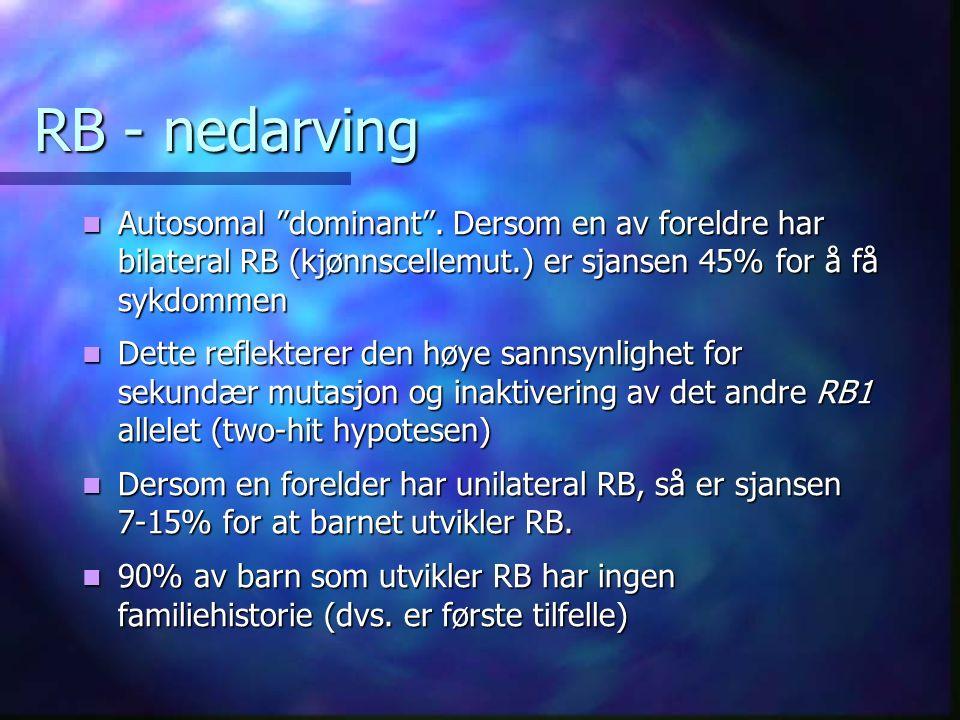 RB - nedarving Autosomal dominant .
