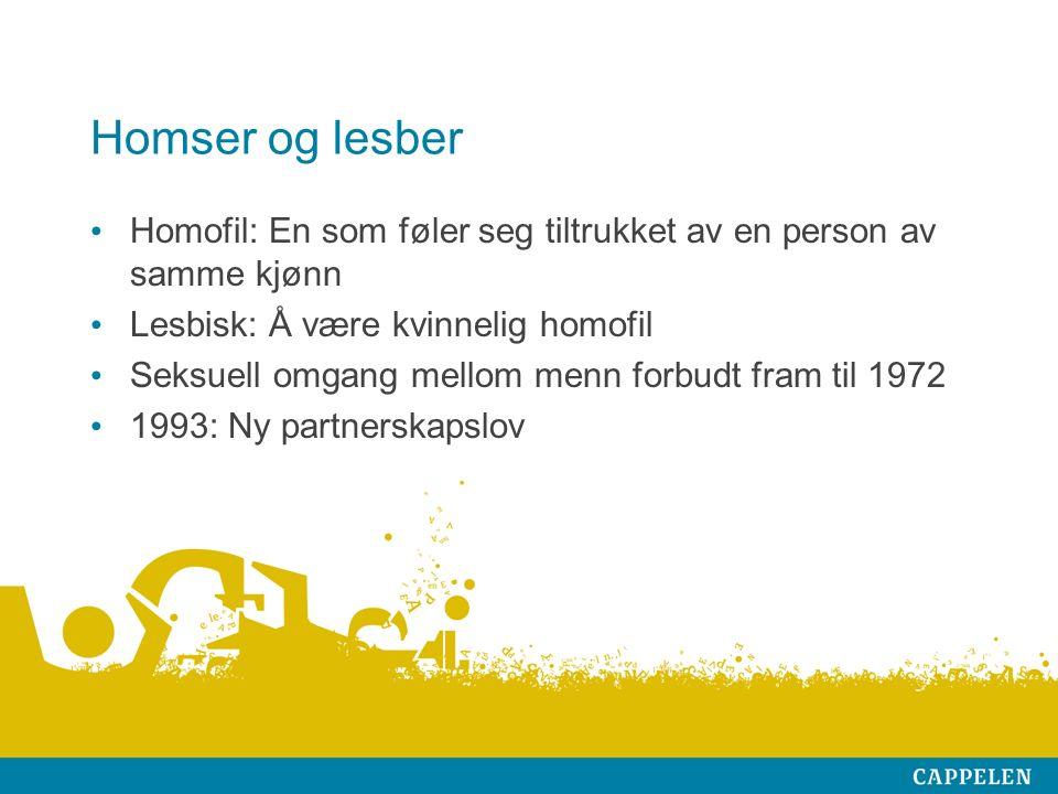 Homser og lesber Homofil: En som føler seg tiltrukket av en person av samme kjønn Lesbisk: Å være kvinnelig homofil Seksuell omgang mellom menn forbudt fram til 1972 1993: Ny partnerskapslov
