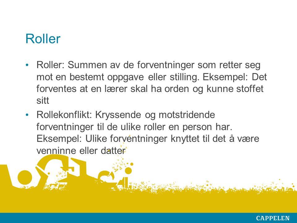 Roller Roller: Summen av de forventninger som retter seg mot en bestemt oppgave eller stilling.