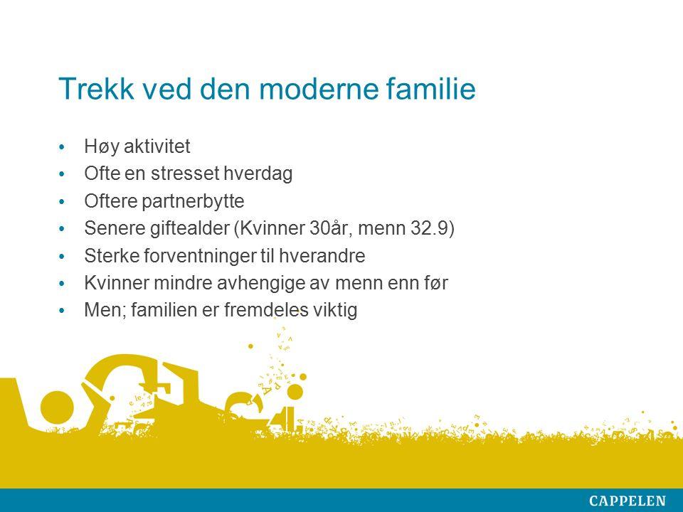 Trekk ved den moderne familie Høy aktivitet Ofte en stresset hverdag Oftere partnerbytte Senere giftealder (Kvinner 30år, menn 32.9) Sterke forventninger til hverandre Kvinner mindre avhengige av menn enn før Men; familien er fremdeles viktig