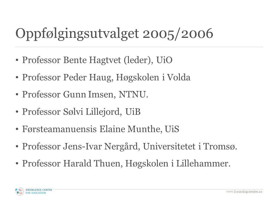 Oppfølgingsutvalget 2005/2006 Professor Bente Hagtvet (leder), UiO Professor Peder Haug, Høgskolen i Volda Professor Gunn Imsen, NTNU.
