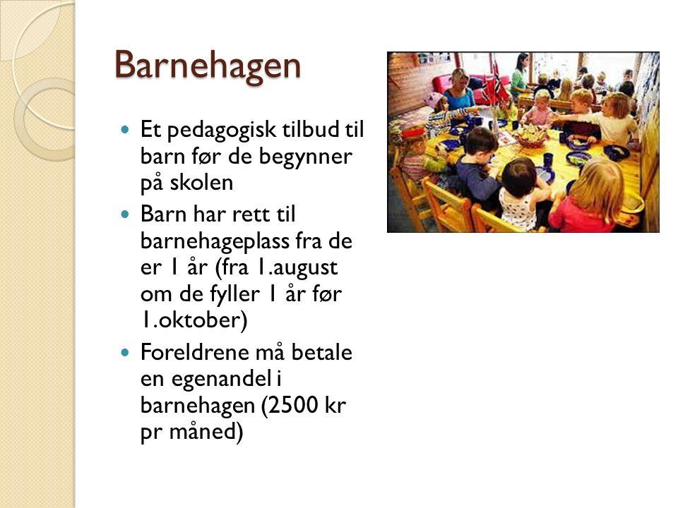 Barnehagen Et pedagogisk tilbud til barn før de begynner på skolen Barn har rett til barnehageplass fra de er 1 år (fra 1.august om de fyller 1 år før 1.oktober) Foreldrene må betale en egenandel i barnehagen (2500 kr pr måned)