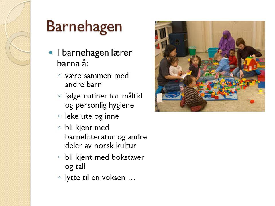 Barnehagen I barnehagen lærer barna å: ◦ være sammen med andre barn ◦ følge rutiner for måltid og personlig hygiene ◦ leke ute og inne ◦ bli kjent med