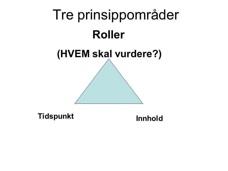 Tre prinsippområder Roller (HVEM skal vurdere ) Tidspunkt Innhold