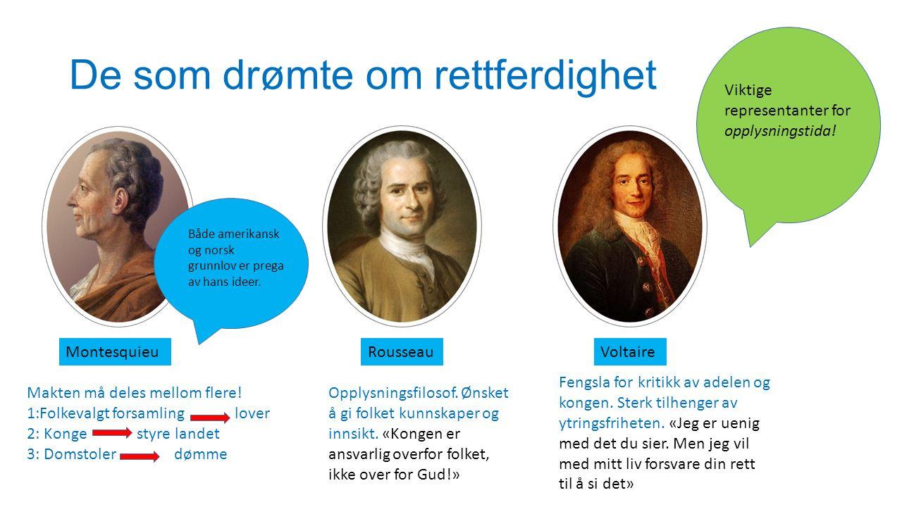 De som drømte om rettferdighet MontesquieuRousseauVoltaire Makten må deles mellom flere! 1:Folkevalgt forsamling lover 2: Konge styre landet 3: Domsto