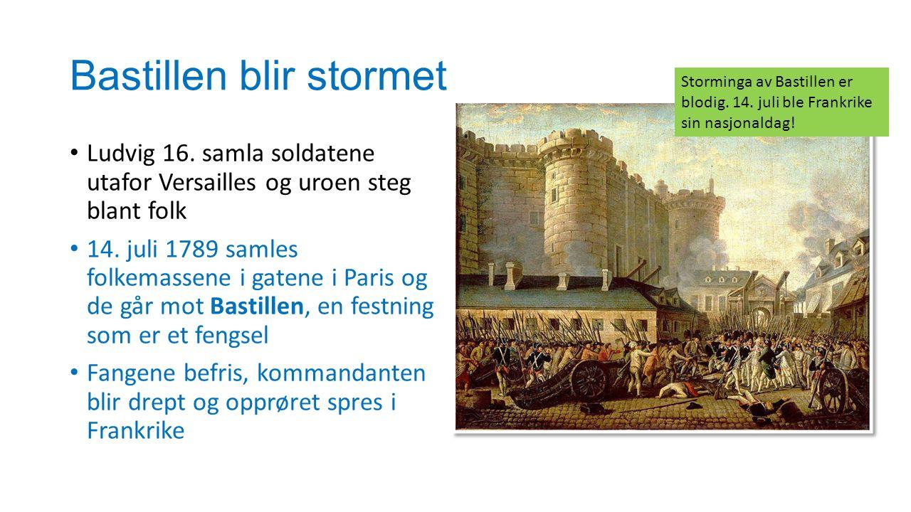 Bastillen blir stormet Ludvig 16. samla soldatene utafor Versailles og uroen steg blant folk 14. juli 1789 samles folkemassene i gatene i Paris og de
