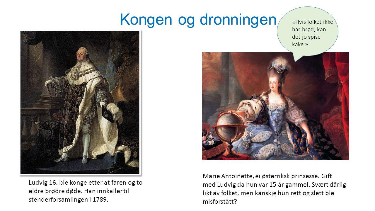 Kongen og dronningen «Hvis folket ikke har brød, kan det jo spise kake.» Ludvig 16. ble konge etter at faren og to eldre brødre døde. Han innkaller ti