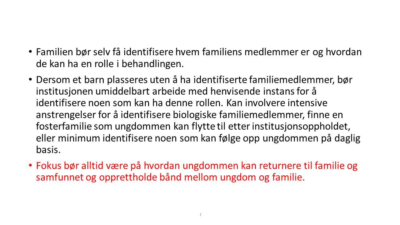 Familien bør selv få identifisere hvem familiens medlemmer er og hvordan de kan ha en rolle i behandlingen.