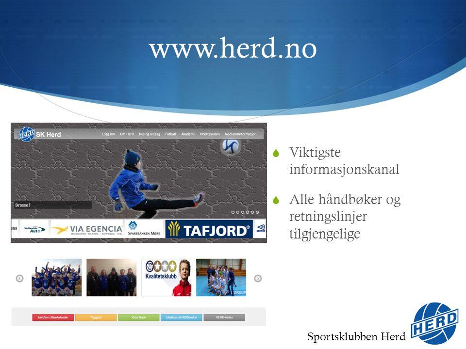 Sportsklubben Herd www.herd.no  Viktigste informasjonskanal  Alle håndbøker og retningslinjer tilgjengelige