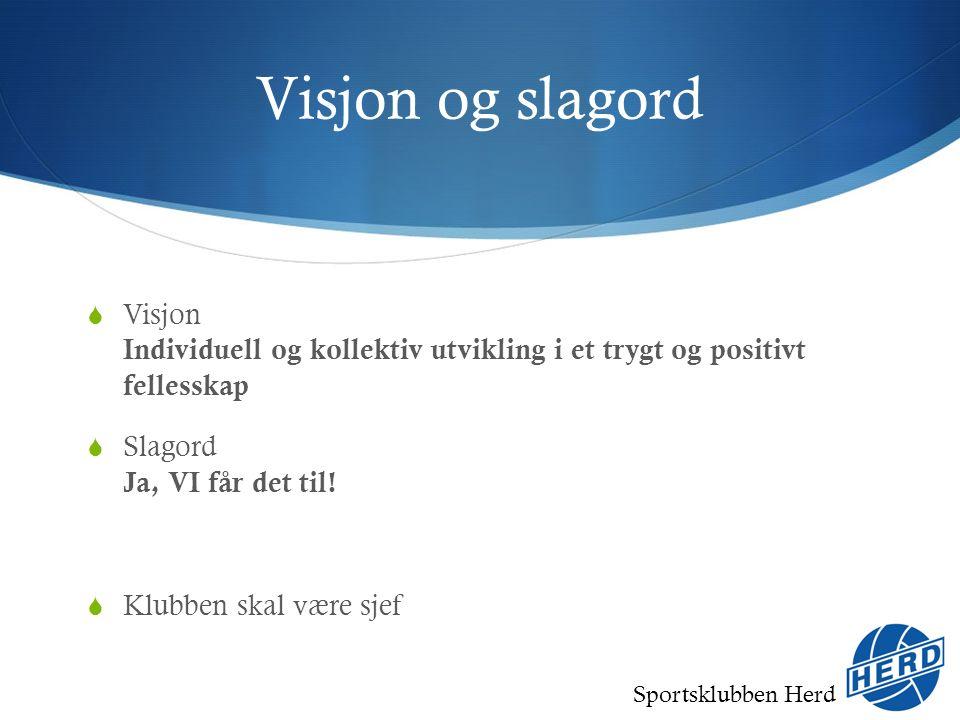 Sportsklubben Herd Visjon og slagord  Visjon Individuell og kollektiv utvikling i et trygt og positivt fellesskap  Slagord Ja, VI får det til.