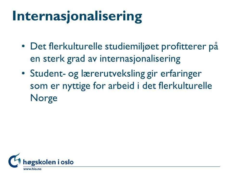 Internasjonalisering Det flerkulturelle studiemiljøet profitterer på en sterk grad av internasjonalisering Student- og lærerutveksling gir erfaringer som er nyttige for arbeid i det flerkulturelle Norge
